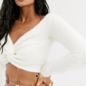 ASOS Fluffy Knitted Twist Front Crop Top